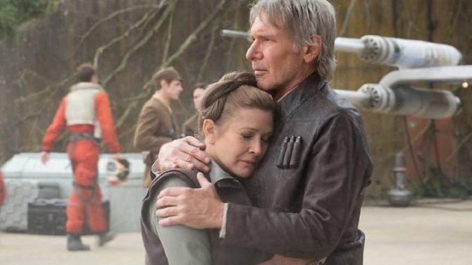 """Carrie Fisher e Harrison Ford em cena de """"Star Wars: O Despertar da Força"""" (2015) imagem: Divulgação"""