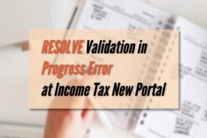 resolve validation progress error at New IT portal