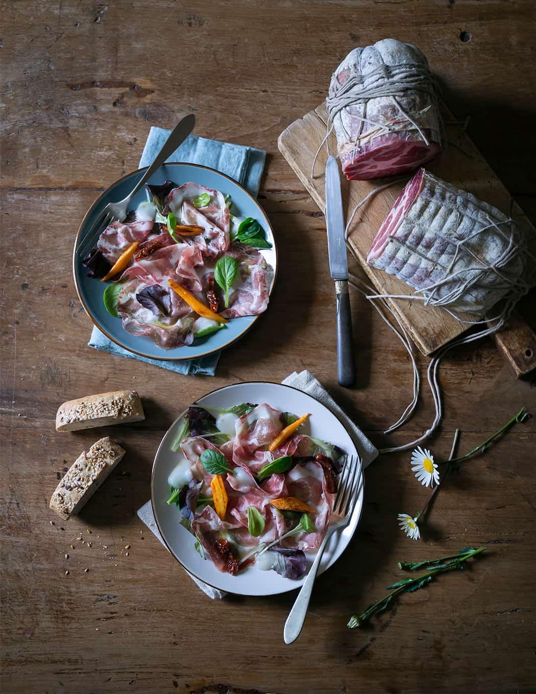 ricetta insalata di primavera con la coppa di Parma