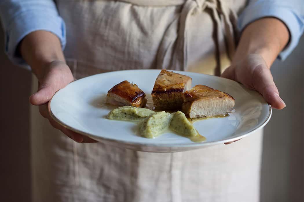 Pancia di vitello arrosto con zucchine in agrodolce