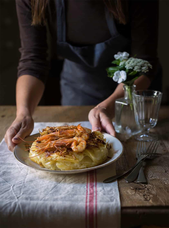ricetta tortino di patata di Bologna con gamberi