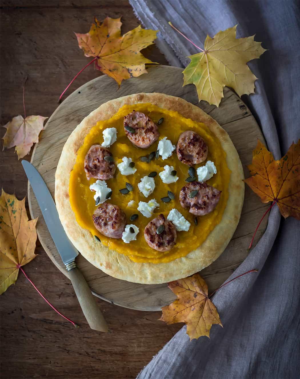 pizza con zucca e crema di zucca
