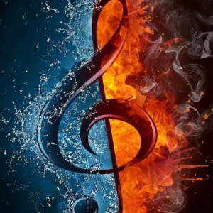 online piano lessons, online music lessons, treble clef with fire and water