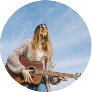 online piano lessons, online music lessons, online guitar lessons, teenage girl playing the guitar