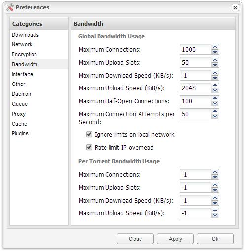 Deluge - Bandwidth Settings