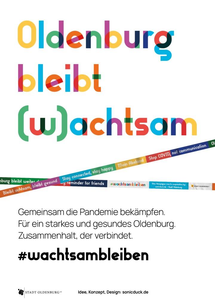 Plakat Achtsam bleiben COVID-19 Awareness Kampagne von Robert Hoffmann-Lohse