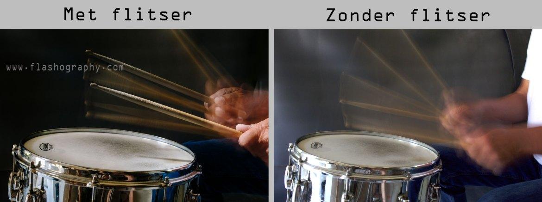 drummer met en zonder flitser