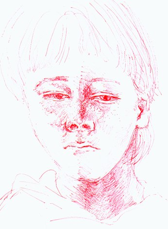 Sketch of Tama (7 years), red biro, 2000, by Sonja van Kerkhoff.