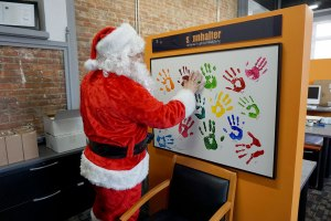 Santa getting his hands dirty