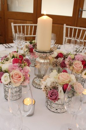 Mercury glass table centres at Botleys Mansion