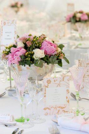 Pink peonies silver rose bowls