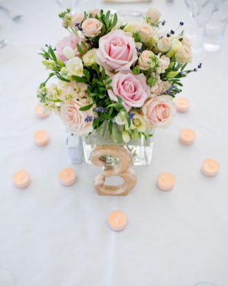 Pretty pink cube flower arrangement