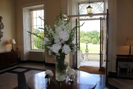 Entrance vase arrangement at Botleys Mansion