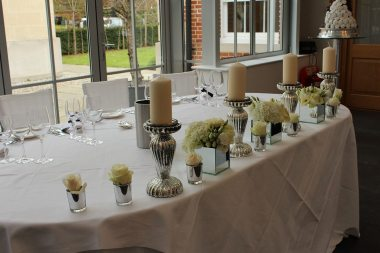 Top table including candles at Botleys Mansion