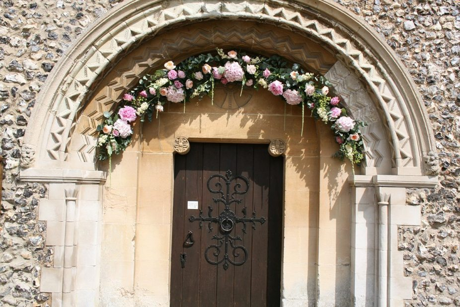 Flower arch at Hurley Church