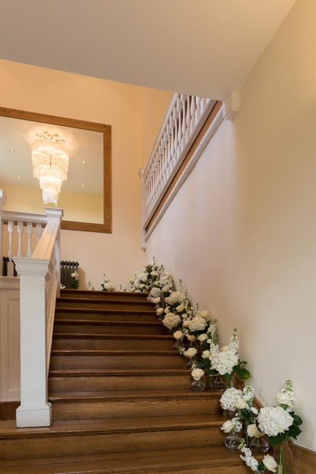 Notley Abbey staircase flowers