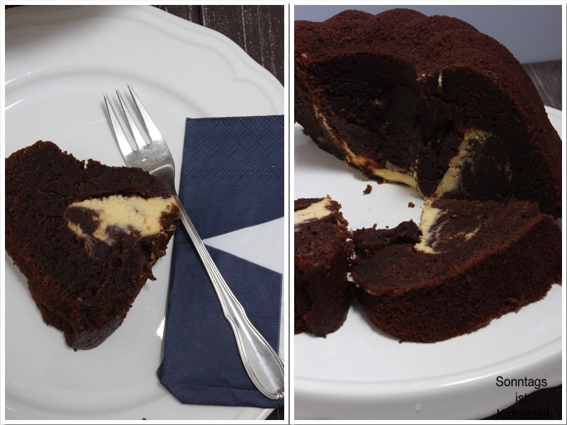 Schokoladen Kuchen mit Cheesecake Füllung zu Ostern