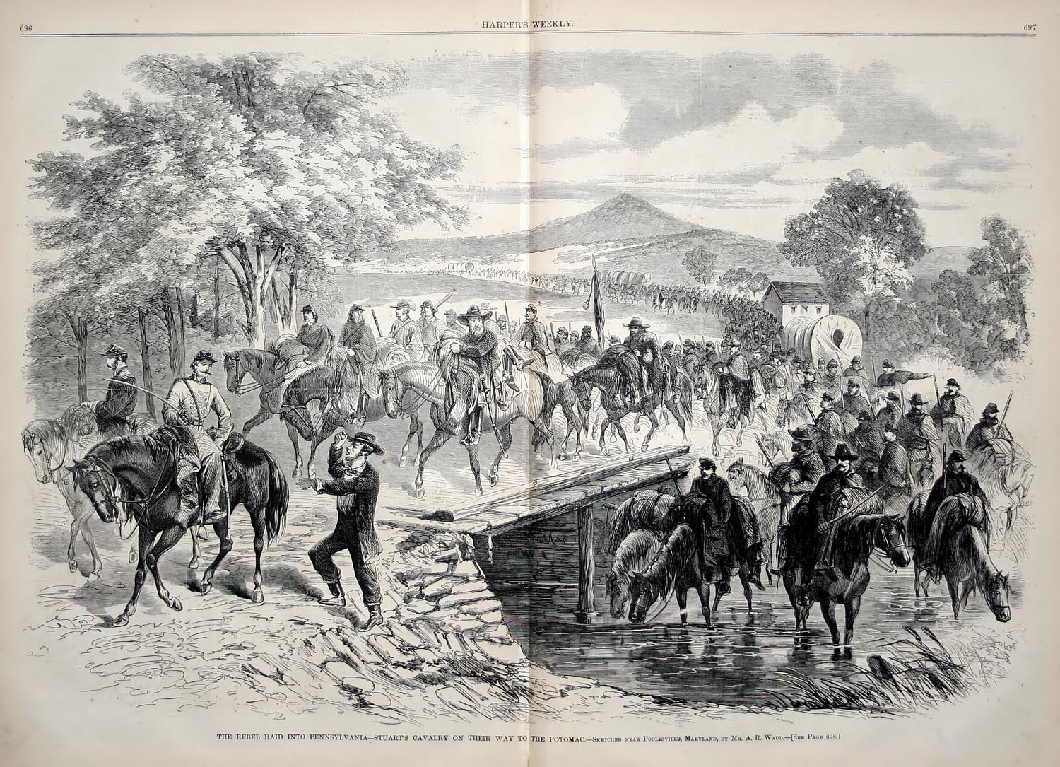 Stuarts Cavalry Raid, from Harpers Weekly