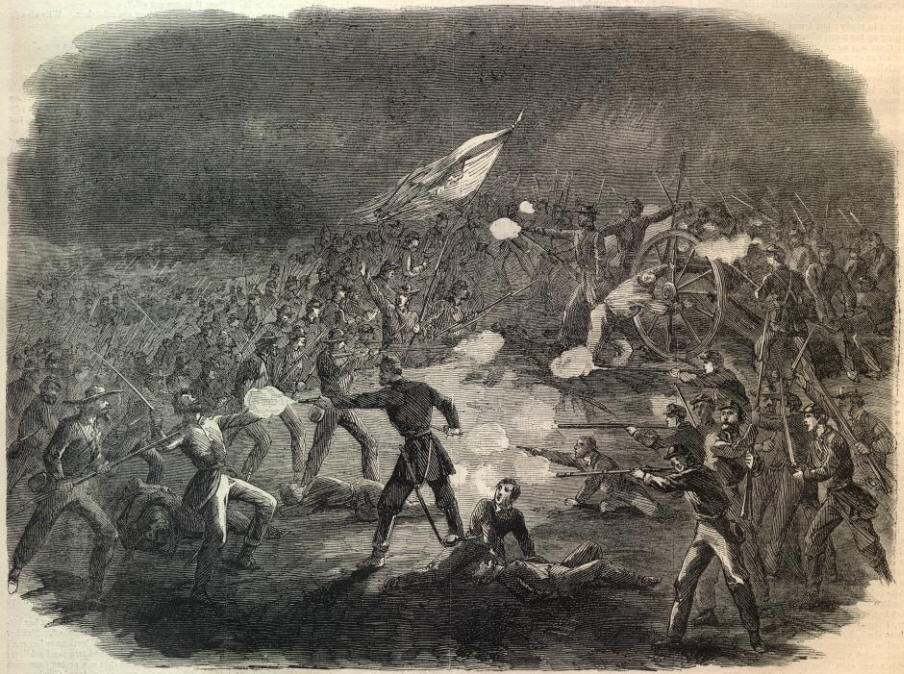 Image result for Waud, Attack of Louisiana Tigers on a Battery of the 11th Corps (Gettysburg)