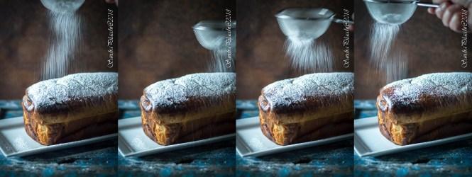pan brioche filante con visciole sciroppate e mandorle