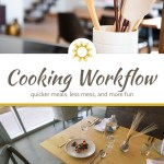Shallow focus of cooking utensils in a white canister in a kitchen above a title overlay with a Wooden table set with plates and silverware with metal chairs around it below