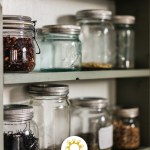 Dried foods in glass jars on a pantry shelf (with title overlay)