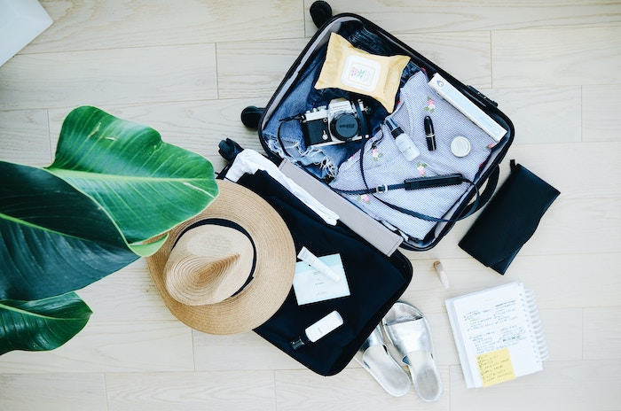 Overhead view of packed suitcase