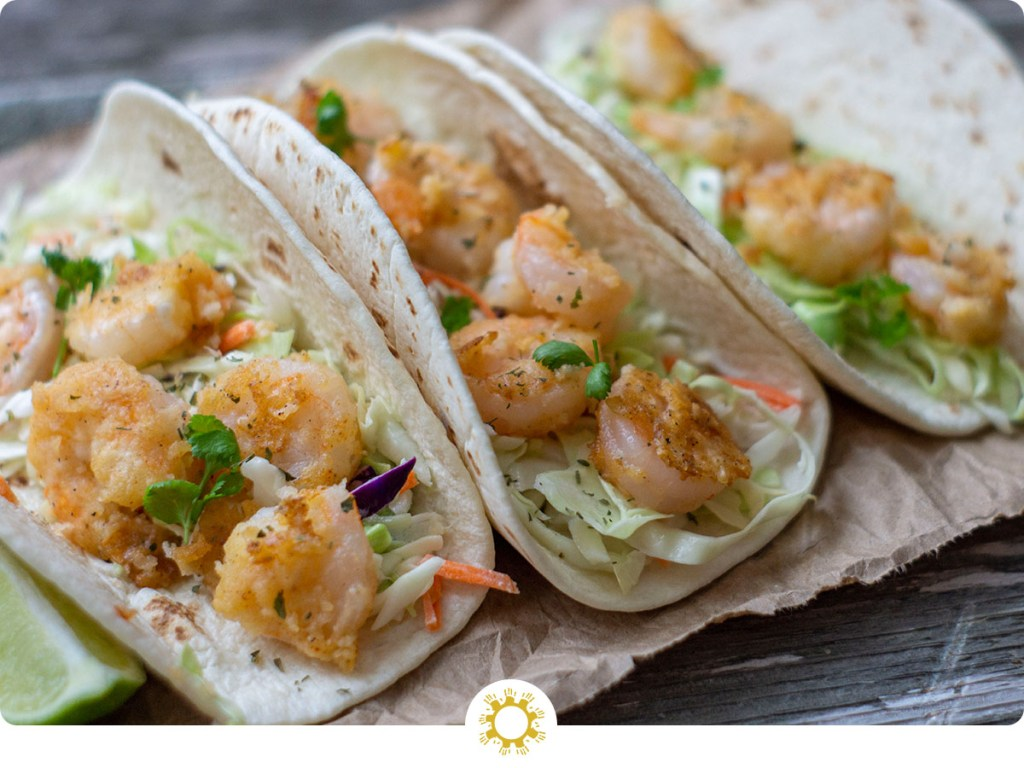 Shrimp Tacos with Coleslaw with logo overlay