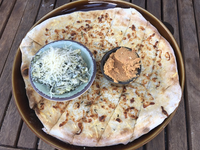 My Vacation in Food: Part 3: Rosemary flatbread with spinach artichoke dip and hummus