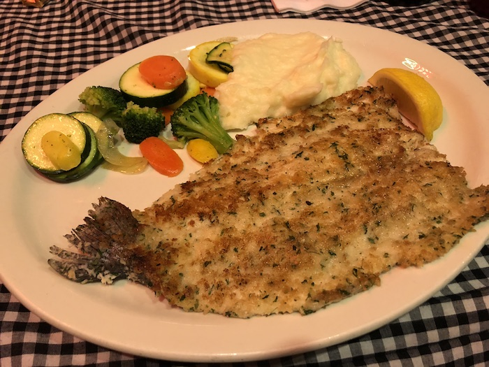 My Vacation in Food: Part 3: Fried fish with veggies on a round plate