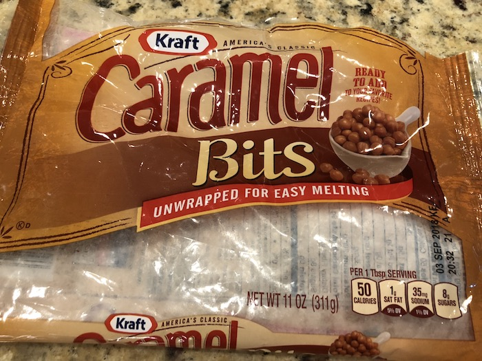 Empty bag of caramel bits