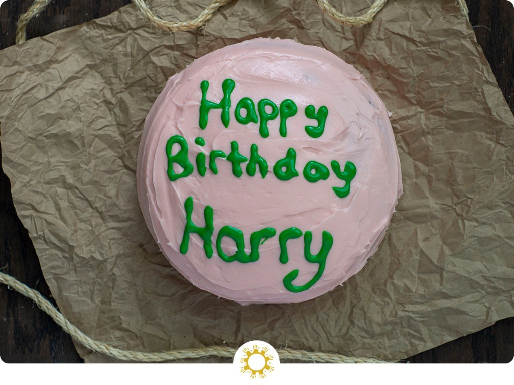 Harry Potter's Birthday Cake on brown paper (with logo overlay)
