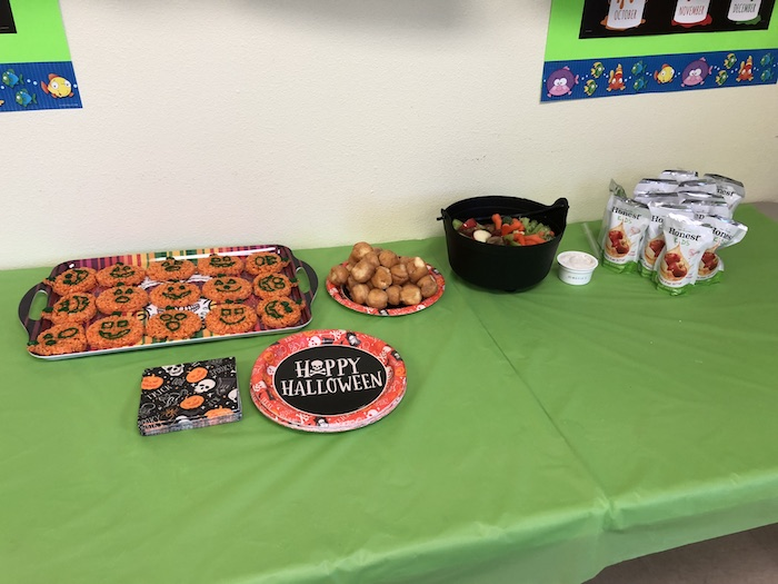 Preschool Halloween party food and drink on a table