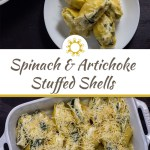 Five spinach and artichoke stuffed shells piled on a round white plate next to a white casserole dish with more shells and a white and blue towel behind all on a wooden surface above a title overlay box with a photo of Pasta shells stuffed with spinach and artichoke mixture in a line topped with shredded cheese in a white casserole dish on a wooden surface on the bottom half
