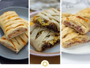 Collage of 3 homemade hot pockets (with logo overlay)