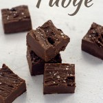 7 pieces of Double Chocolate Fudge sprinkled with kosher salt on a white surface (vertical with large title overlay)