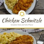 Chicken schnitzel next to cheesy spaetzle on a round white plate with a white and brown towel behind all on a wooden surface (with title overlay)