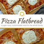 Super Easy Pizza Flatbread on a bamboo tray on top of a white and brown towel on a wooden surface (with title overlay)