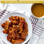 Pile of crispy cooked bacon on a round white plate on a white and red towel next to a white mug of coffee all on a white wooden surface (with title overlay)