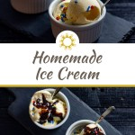 Homemade french vanilla ice cream with rainbow sprinkles in two round white bowls with stainless steel spoons on a dark slate board on a dark wooden surface (with title overlay)