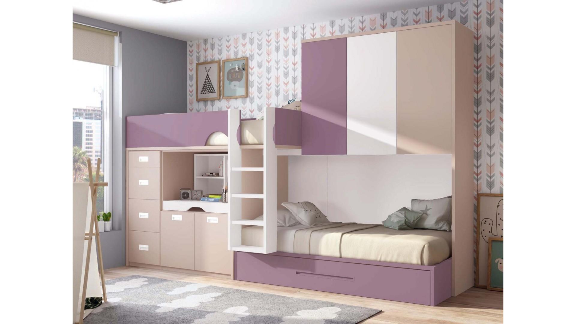 chambre avec lit superpose fille et lit gigogne personnalisable f220 glicerio
