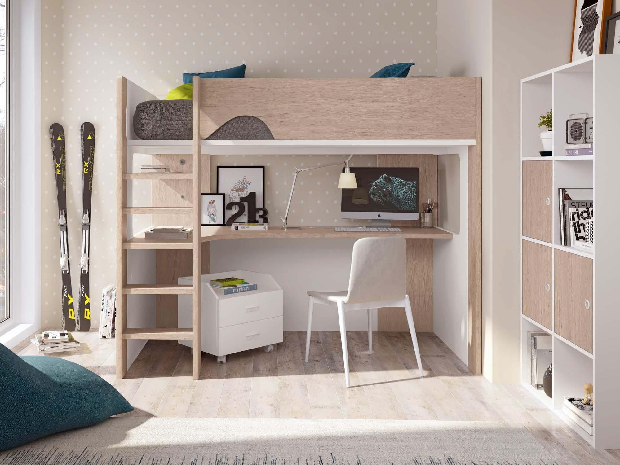 lit mezzanine ado avec bureau d angle