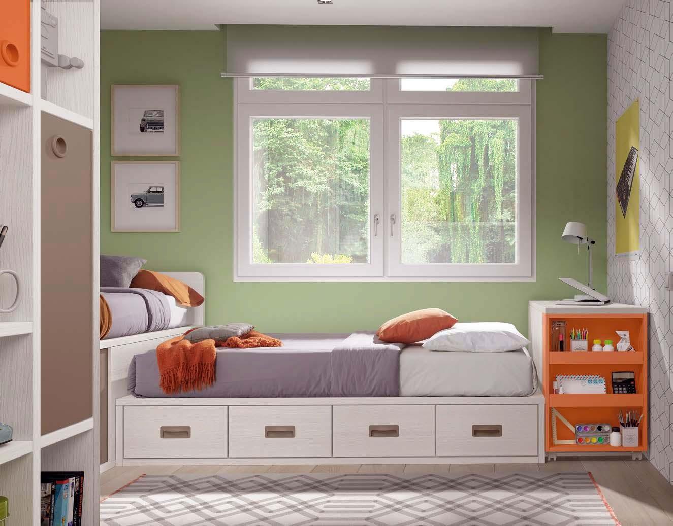 lits jumeaux d angle avec rangements