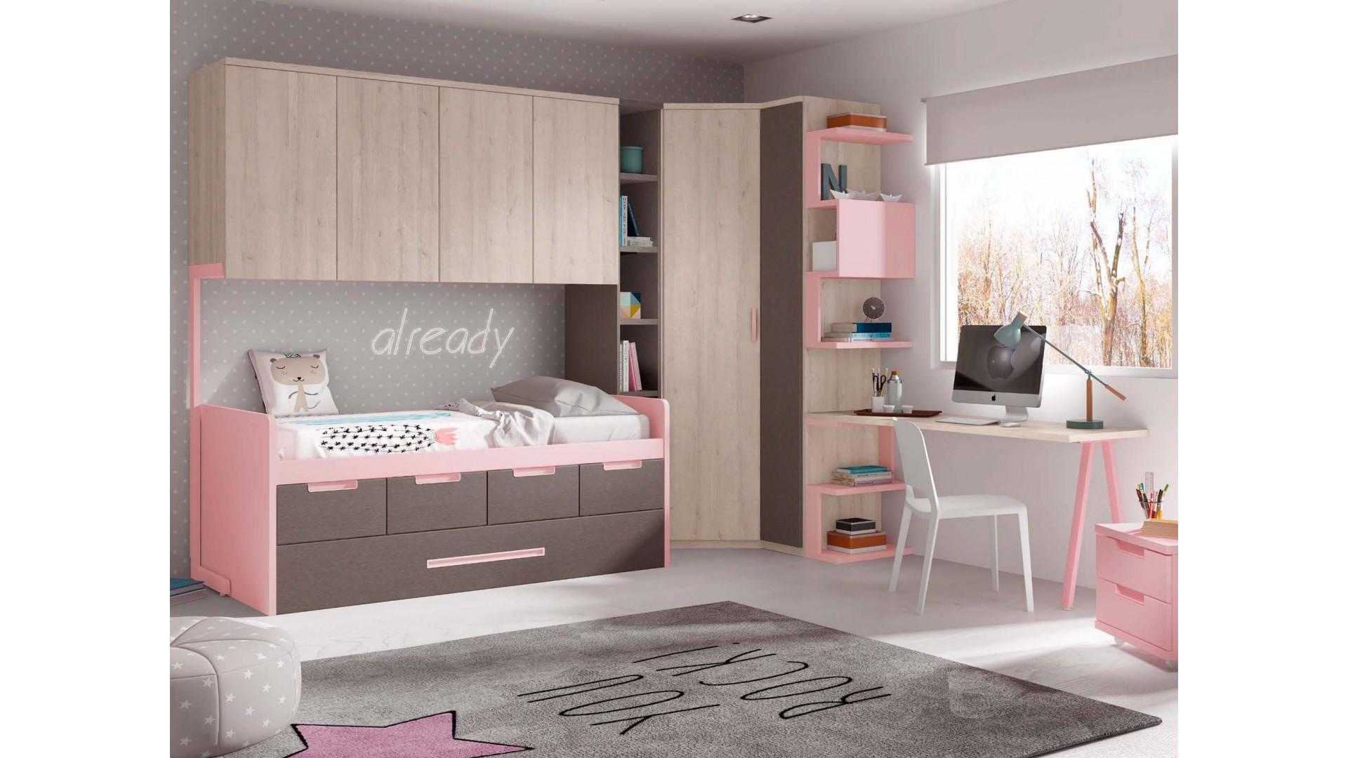 chambre fille avec lit gigogne 4 coffres de rangement personnalisable f028 glicerio