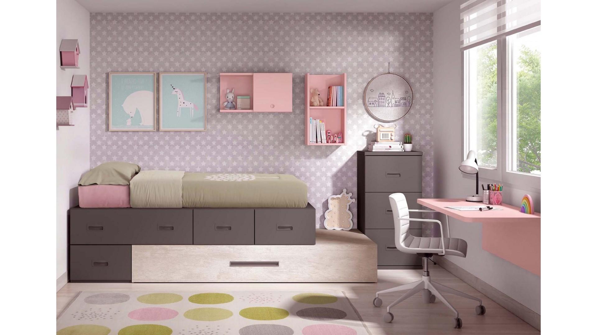 lit enfant fille personnalisable avec lit gigogne f311 glicerio