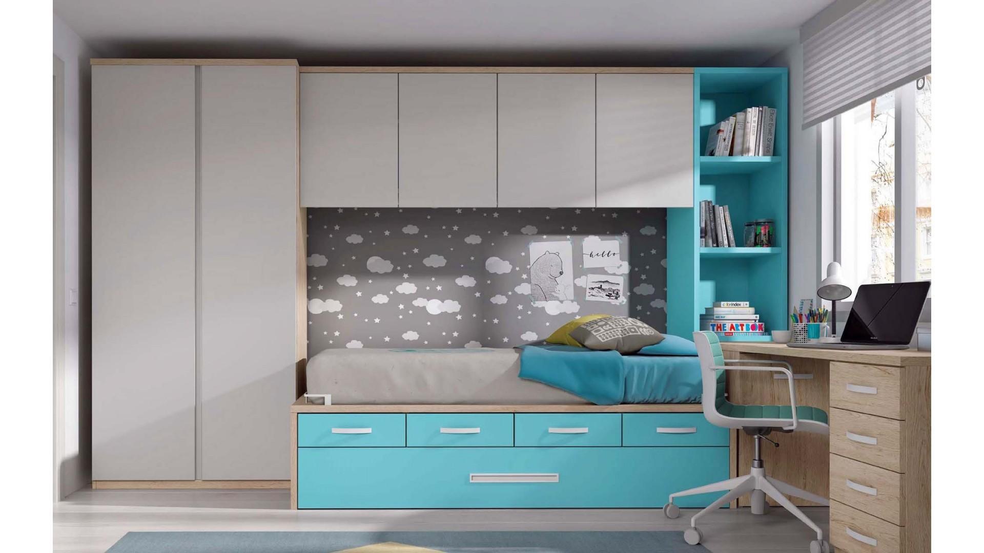 chambre junior avec lit gigogne et bureau personnalisable f032 glicerio