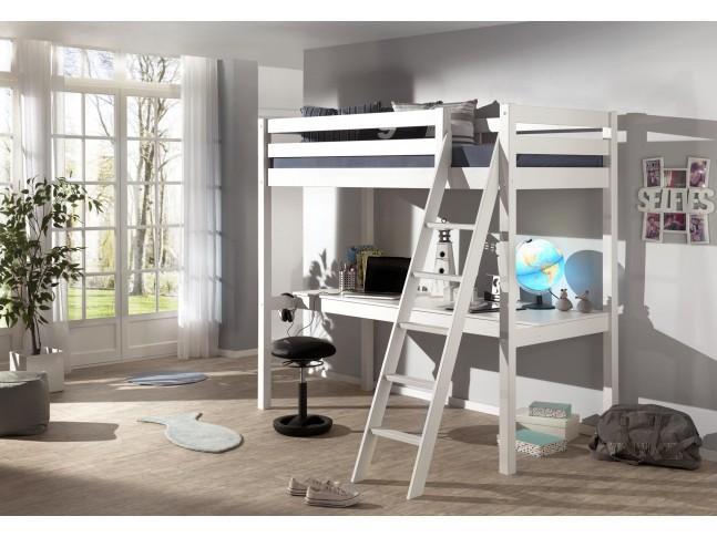 lit mezzanine 1 place avec bureau clara couchage 90x200 cm sonuit