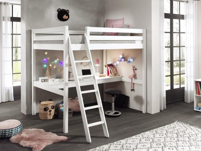 lit mezzanine 2 places avec bureau couchage 140x200 cm clara sonuit