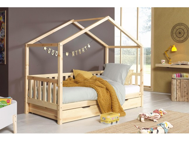 lit enfant cabane nice naturel 90x200 cm sonuit