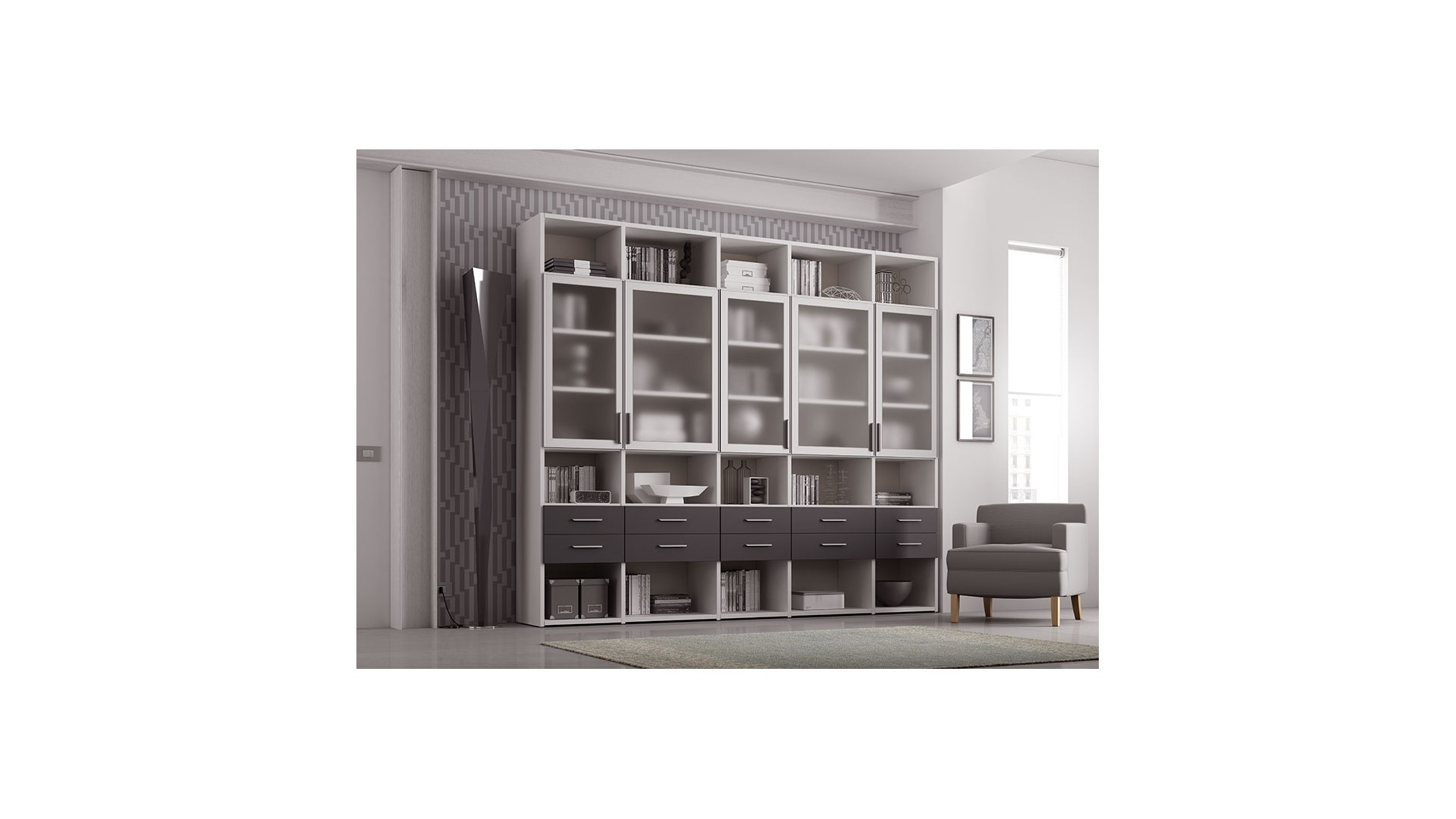 bibliotheque design personnalisable al19 avec portes vitrees tiroirs moretti compact